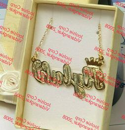 PERSONALIZED 14K GOLD PLATED SINGLE NAME PLATE CHAIN NECKLAC