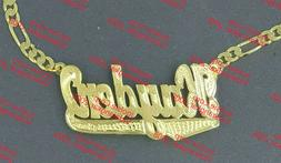 PERSONALIZED 14K GOLD PLATED UNISEX MEN'S DOUBLE NAME PLATE
