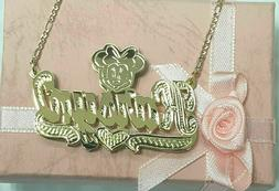 PERSONALIZED 14K GP 3D DOUBLE PLATED SCRIPT NAME PLATE NECKL