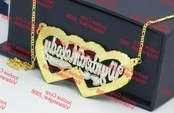 PERSONALIZED 14K GP TWO 2 NAMES COUPLE DOUBLE HEART NAME NEC