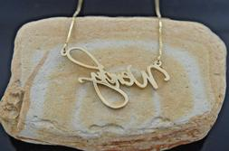 Personalized 14k Real Gold Script Name Custom Plate Necklace