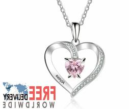 Personalized 925 Name Birthstone Necklace Sterling Silver Pe