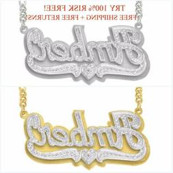 Personalized .925 Sterling Silver 14K Gold any Name Plate Ne