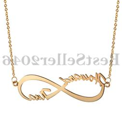 Personalized 925 Sterling Silver 2 Any Name Infinity Necklac