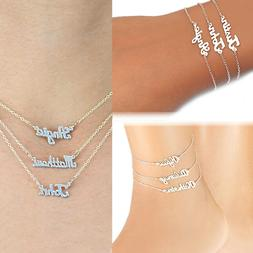 Personalized Any Name Silver and Gold Mini Name Plate Neckla