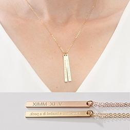 Personalized Bar Necklace-Custom Name-Coordinate Jewelry- 1