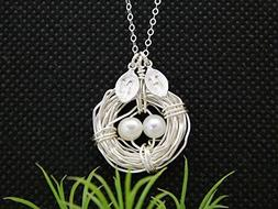 Personalized Bird Nest Mother Necklace / Mother Day Gift / F