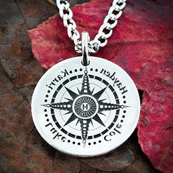 Personalized Compass necklace, 4 best Friends, Engraved real