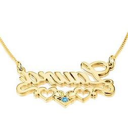Personalized Custom 24K Gold Plated Hearts Name Necklace wit