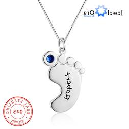 Personalized Custom Baby Foot Birthstones Names Necklace Mot