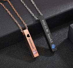 Personalized Custom Engraved Name Date Bar Couple Necklace F