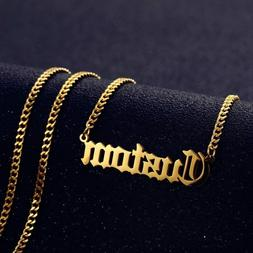 Personalized Custom Name Necklace Pendant Gold Cuban Chain W