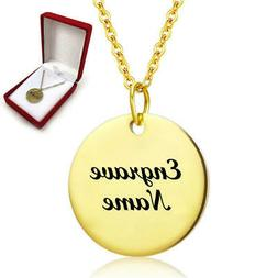 Personalized Engraved Gold Tone Round Name Plate Necklace En