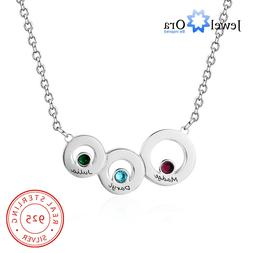 Personalized Engraving Family 3 Names Birthstones Necklace G