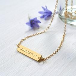 Personalized Gold Little Name Bar Necklace