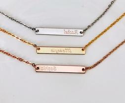 Personalized Gold/ Silver/Rose gold Date Name Delicate Horiz