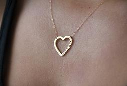 Personalized Heart Necklace, Name Necklace, Bridesmaid Neckl