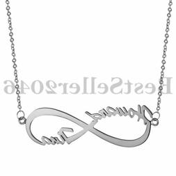 Personalized Infinity 2 Name Necklace 925 Sterling Silver Cu