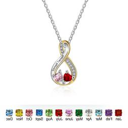 Personalized Infinity Name Necklace Birthstone Pendant Neckl