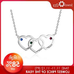 Personalized Intertwined Hearts <font><b>Necklace</b></font>