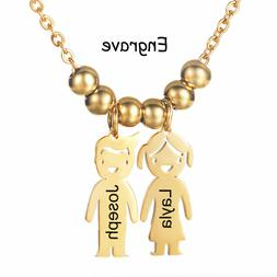 Personalized Kids Girl and Boy Pendant Necklace Custom Name