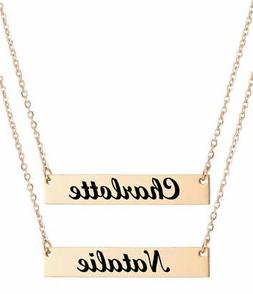 Personalized Lase Engraved Name Plate Bar Necklace Pendant R