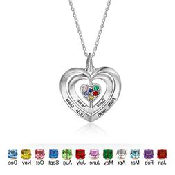 Personalized Love Heart Necklace Birthstone Family Name Neck