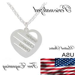 Personalized Love Heart Pendant Necklace Any Names Engraved
