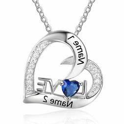 Personalized Love Necklace Engraved Birthstone Name Family S