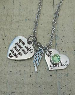 Personalized Memorial Angel Wing Necklace gift Name Birthsto