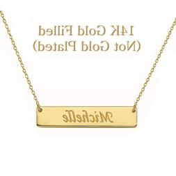 Personalized Monogram Initial Name Bar Necklace 14K Gold Fil