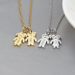 Personalized Mother Name Necklace Engraved Boys Girls Custom