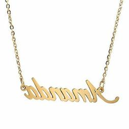 Personalized Name Badge Necklace Tiny Charm 14k Gold Plated