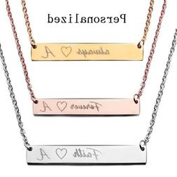 personalized name bar necklace custom engraved any