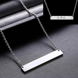 Personalized Name Bar Pendant Necklace Custom Engraved Stain