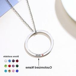 Personalized Name Birthstone Women ID Necklace Round Ring Pe