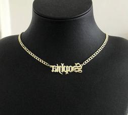 Personalized Name Chain Necklace Old English Font Women Cust