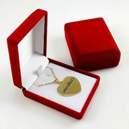 Personalized Name Engraving Heart Shape Necklace Gold Plated