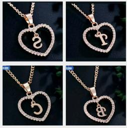 Personalized Name Initial Letter Necklace Rose Gold Color Cr