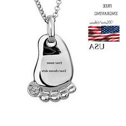Personalized Name Necklace Childs Baby Children Foot FREE En
