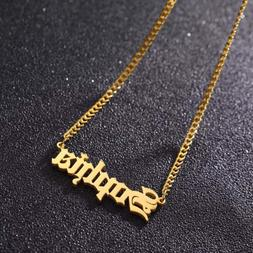 18KGold Personalized Name Necklace - Initial Necklace - Lett