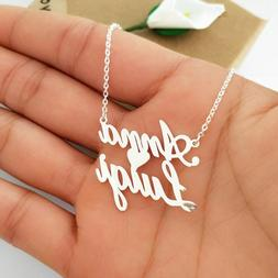 Personalized Name Necklace Stainless Steel Love Heart Pendan