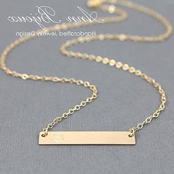 Personalized Name Plate Necklace, 14K Gold Filled Bar Neckla