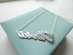 Personalized Name Plate Necklace in Sterling Silver Script D
