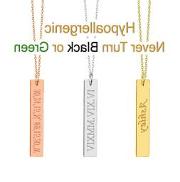 Personalized Name Vertical Bar Necklace Custom Engraved Any