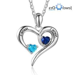 Personalized 925 Silver Necklace Birthstone  Heart Pendant N