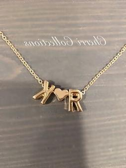 Personalized Name Necklace Custom 2 Initial Heart Couple Alp