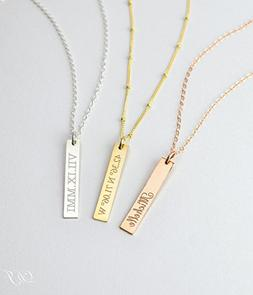 Personalized Pendant Bar Necklace Engraved with a Name, Date