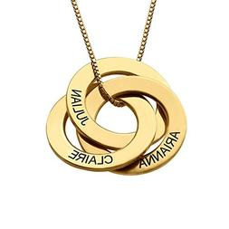 Personalized Russian Ring Necklace w/Name Engraving-Personal