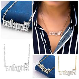Personalized Silver and 14K Gold Script Any Name Double Plat